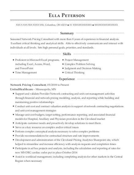 Network Pricing Consultant resume format Ohio
