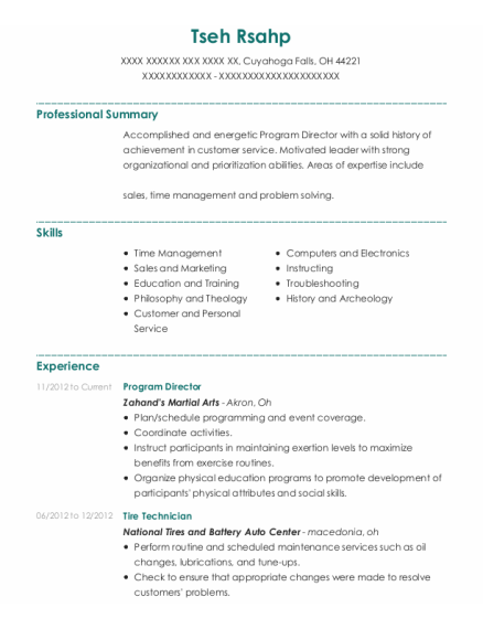 Program Director resume template Ohio