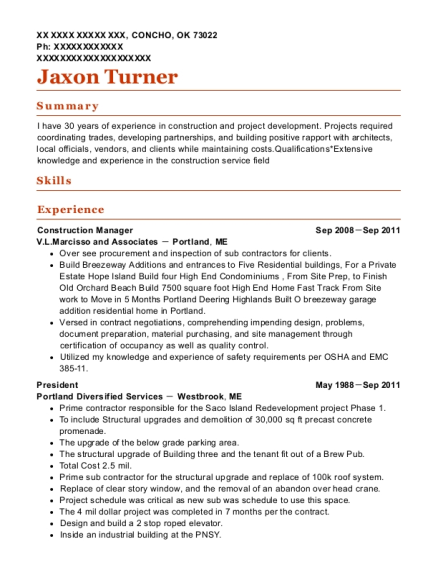 Construction Manager resume example Oklahoma