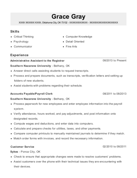 Administrative Assistant to the Registrar resume format Oklahoma