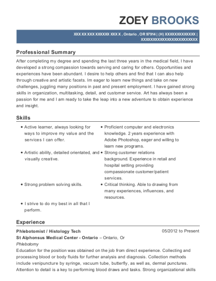 Phlebotomist resume template Oregon