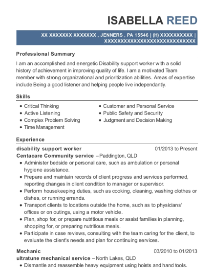 alkira care disability support worker resume sample