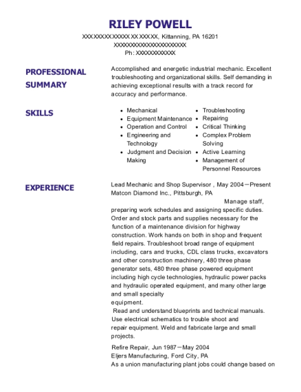 Lead Mechanic and Shop Supervisor resume template Pennsylvania