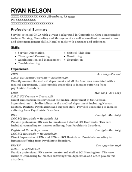 CHCA resume sample Pennsylvania