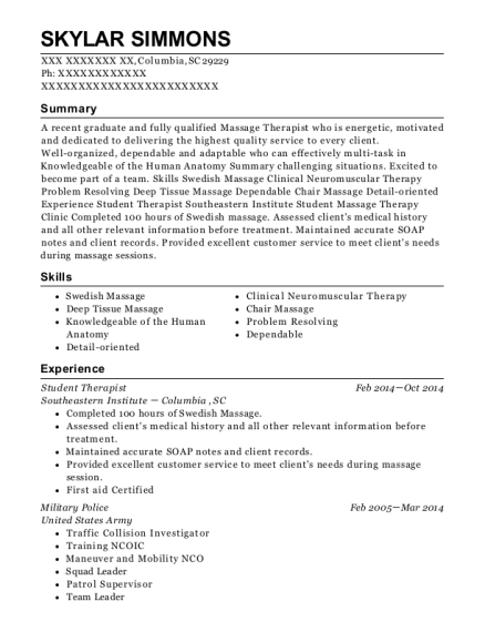 Student Therapist resume format South Carolina