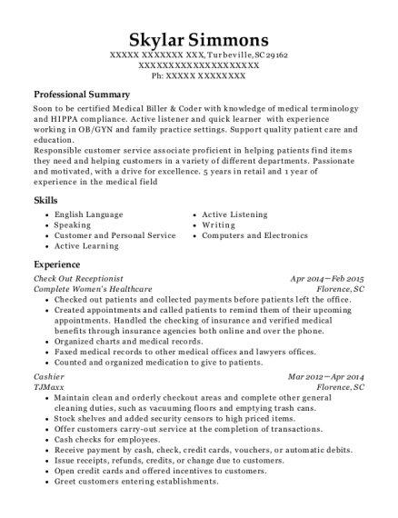 Check Out Receptionist resume template South Carolina