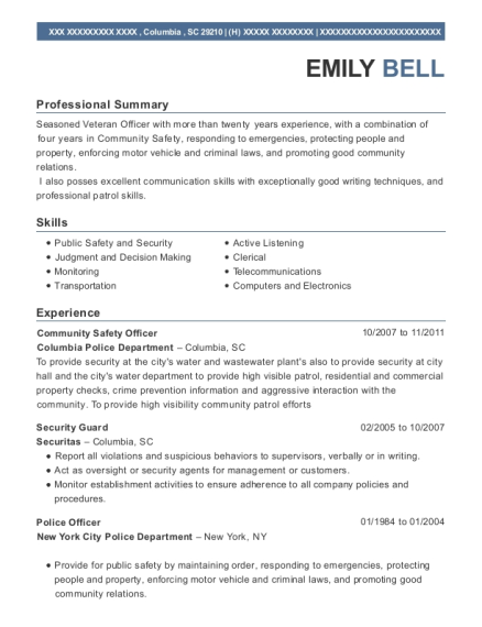 Community Safety Officer resume template South Carolina