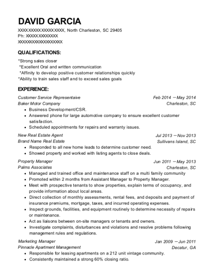 Customer Service Representaive resume example South Carolina