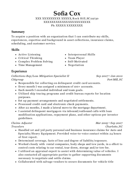 Collections Rep resume example South Carolina