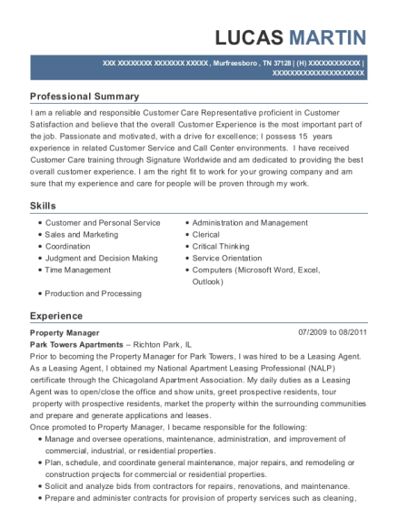 Property Manager resume sample Tennessee