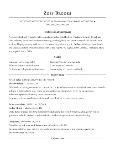 Retail Sales Consultant resume format Tennessee