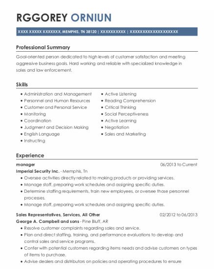 Manager resume template Tennessee