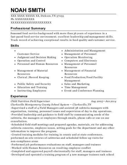 Child Nutrition Field Supervisor resume template Tennessee