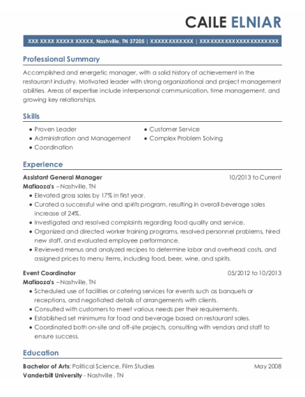 Assistant General Manager resume format Tennessee