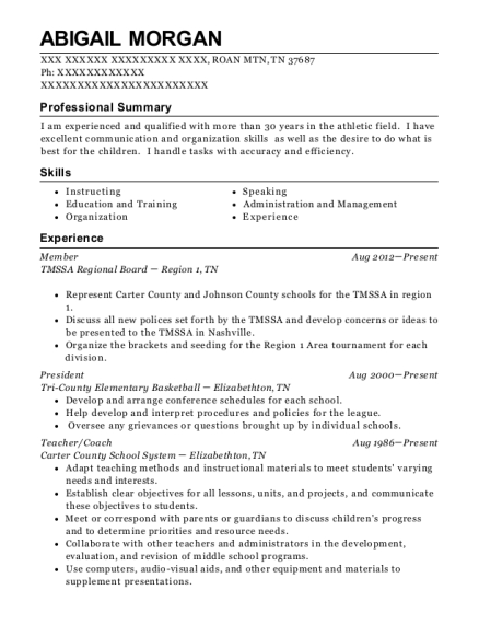 Member resume example Tennessee