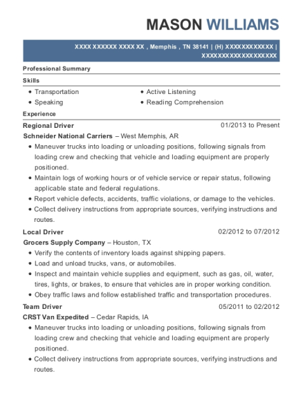 Regional Driver resume example Tennessee