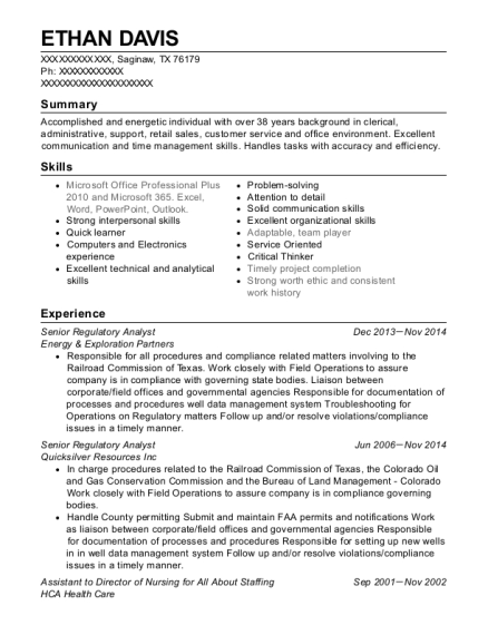 Senior Regulatory Analyst resume sample Texas