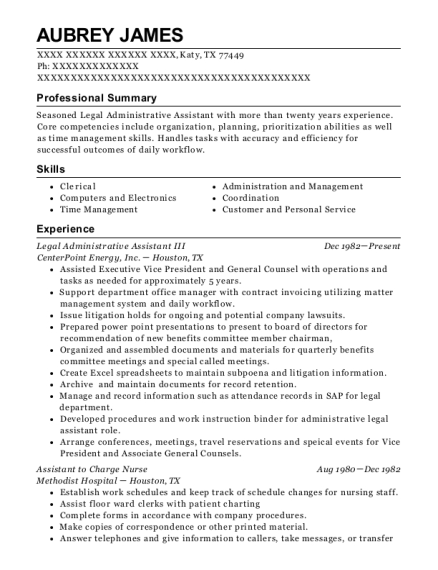 Legal Administrative Assistant III resume format Texas