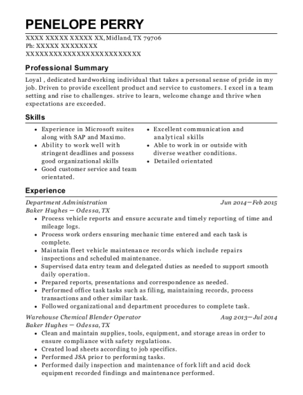 Department Administration resume template Texas