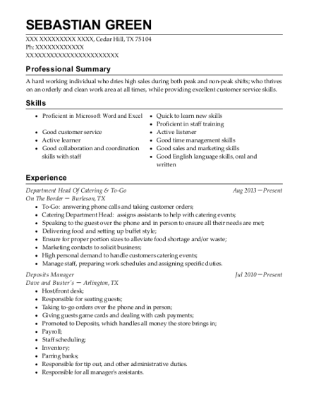 Department Head Of Catering & To Go resume example Texas