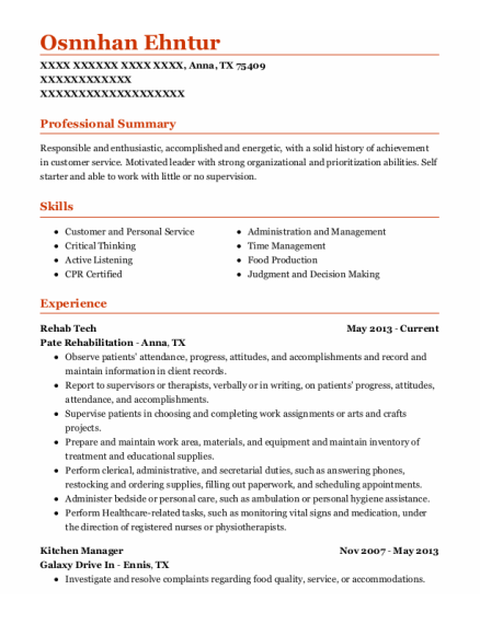 Rehab Tech resume example Texas