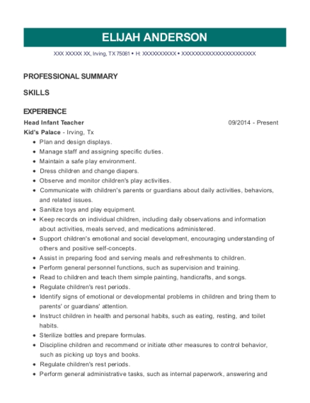 Head Infant Teacher resume example Texas