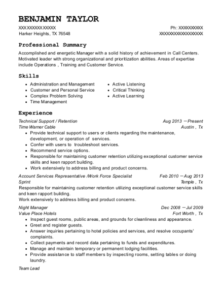 Technical Support resume sample Texas