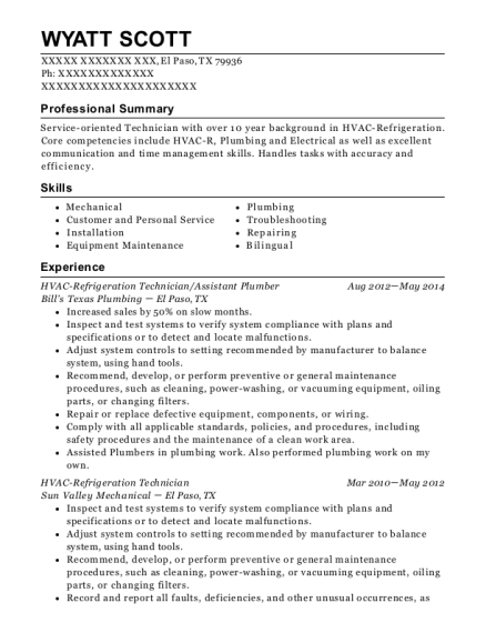 HVAC Refrigeration Technician resume sample Texas