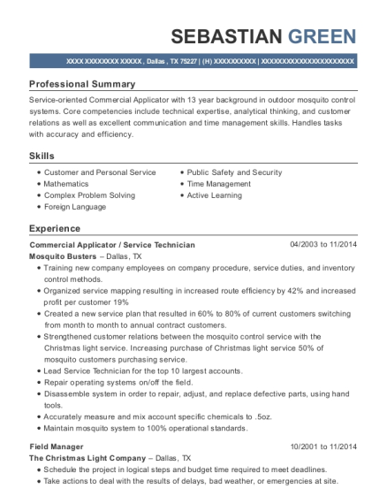 Commercial Applicator resume example Texas