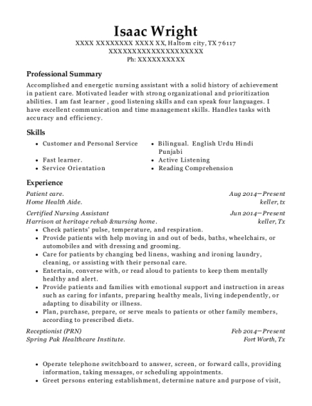 Patient care resume template Texas