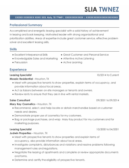 Leasing Specialist resume template Texas