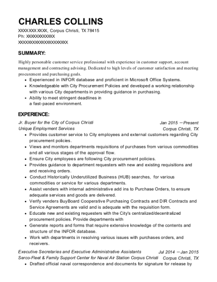 Jr Buyer for the City of Corpus Christi resume format Texas