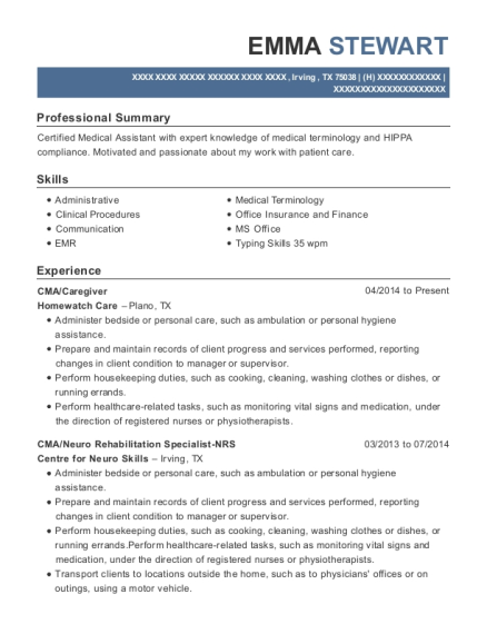CMA resume sample Texas