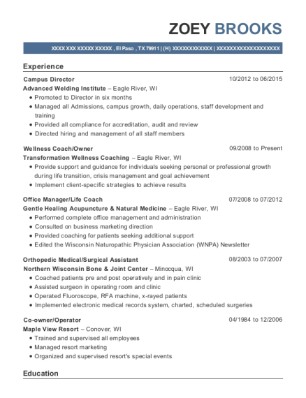 Campus Director resume format Texas