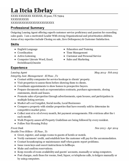 Leasing Agent resume format Texas