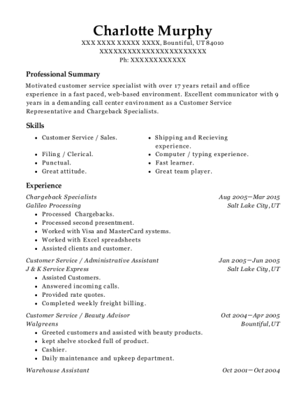 Chargeback Specialists resume format Utah