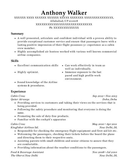 etihad airways cabin crew resume sample