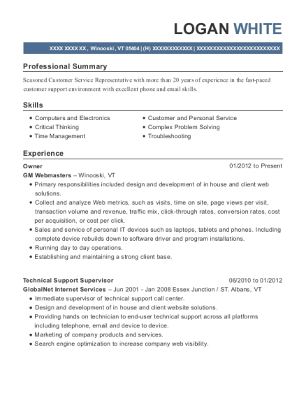 Owner resume example Vermont