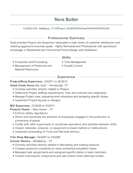 Project resume example Vermont