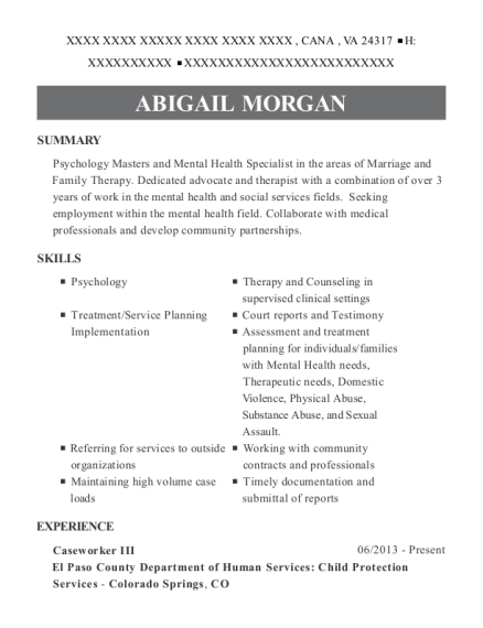 Caseworker III resume template Virginia