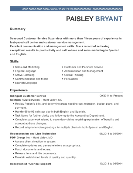 Bilingual Customer Service resume example Virginia
