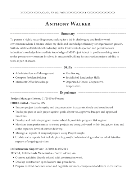 Project Manager Intern resume template Virginia