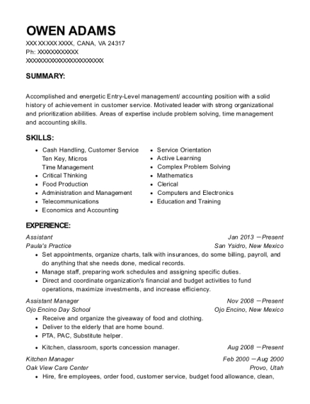 Assistant resume template Virginia