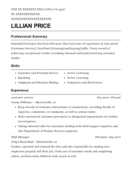 Customer Service resume template Virginia