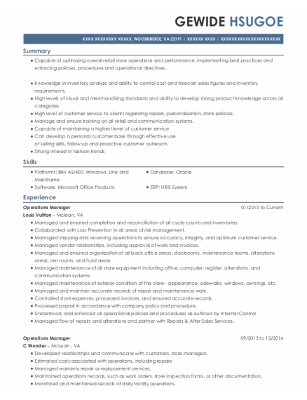Operations Manager resume format Virginia