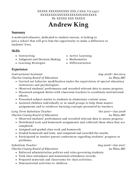 Instructional Assistant resume template Virginia