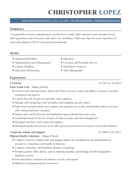 Co Owner resume template Virginia