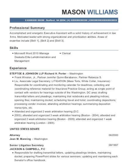 Attorney resume sample Virginia