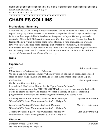 CEO resume format Virginia