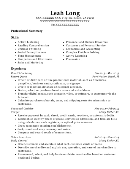 Email Marketing resume example Virginia